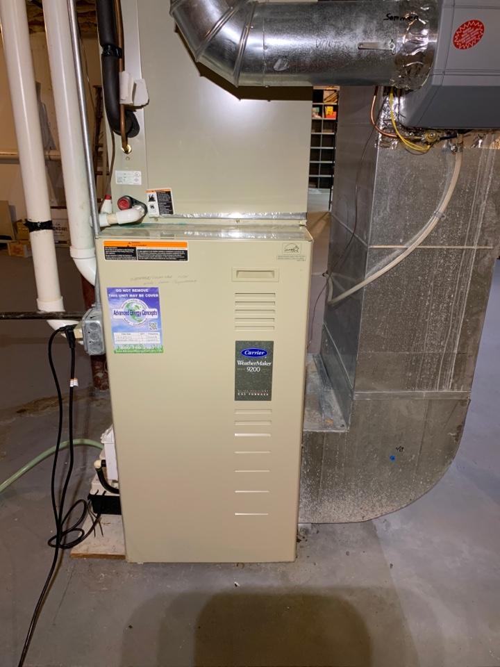 Holden, MA - Performed preventative maintenance procedures on carrier nat gas furnace