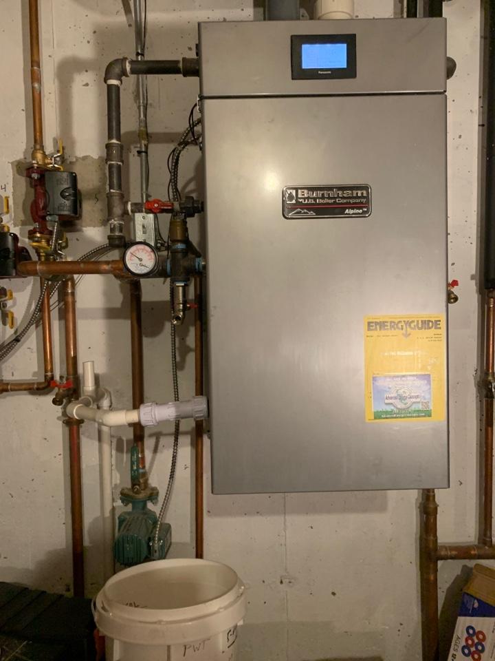 Shrewsbury, MA - Replace draft inducer fan and flame sensor in burnham nat gas boiler
