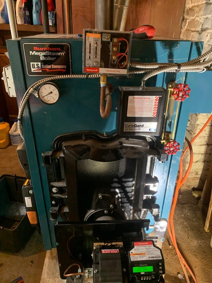 Worcester, MA - Preventative maintenance on a Burnham oil steam boiler