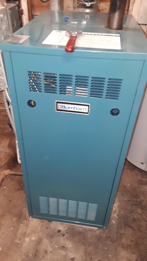 West Boylston, MA - Clean and check Burnham gas boiler