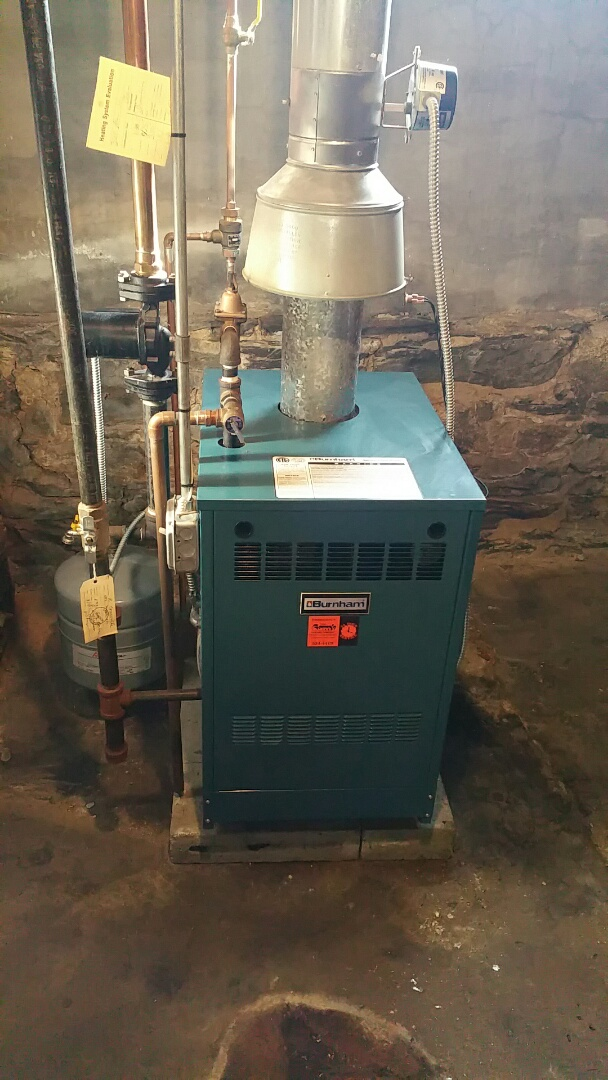 Leominster, MA - Gas heat service call. Performed repairs on Burnham gas fired boiler