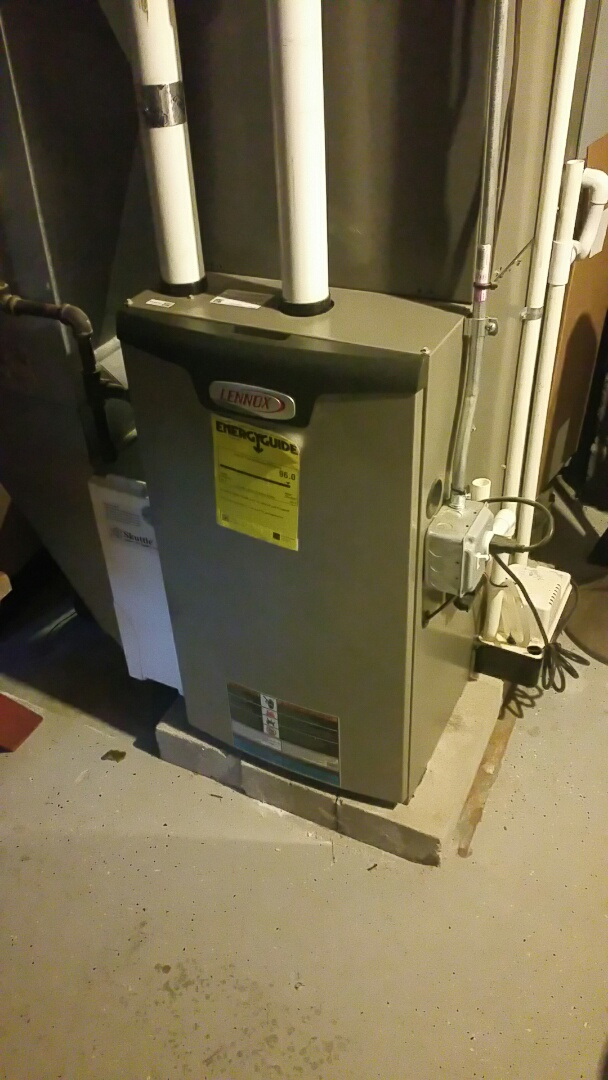 Charlton, MA - Gas heat maintenance call. Performed cleaning and tune up on Lennox gas fired furnace
