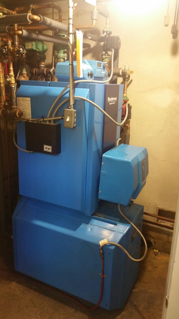 Leominster, MA - Oil heat maintenance call. Performed cleaning and tune up on Buderus oil fired boiler