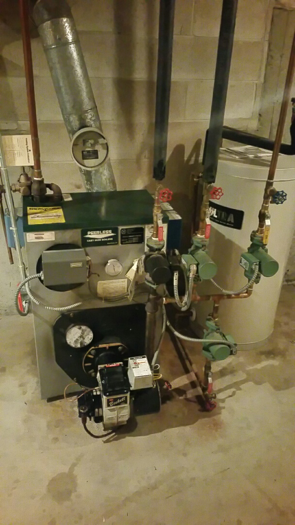 Leominster, MA - Oil heat maintenance call. Performed cleaning and tune up on peerless oil fired boiler