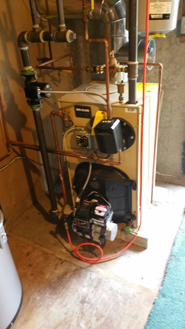 Sterling, MA - Oil heat maintenance call. Performed cleaning and tune up on Weil McLain oil fired boiler