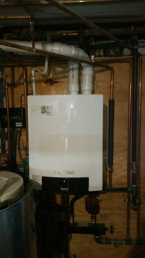 Shirley, MA - Gas heat maintenance call. Performed cleaning and tune up on Buderus gas fired boiler