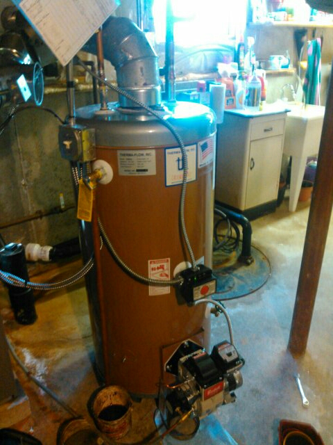 Spencer, MA - Installing a customer supplied oil fired hot water heater