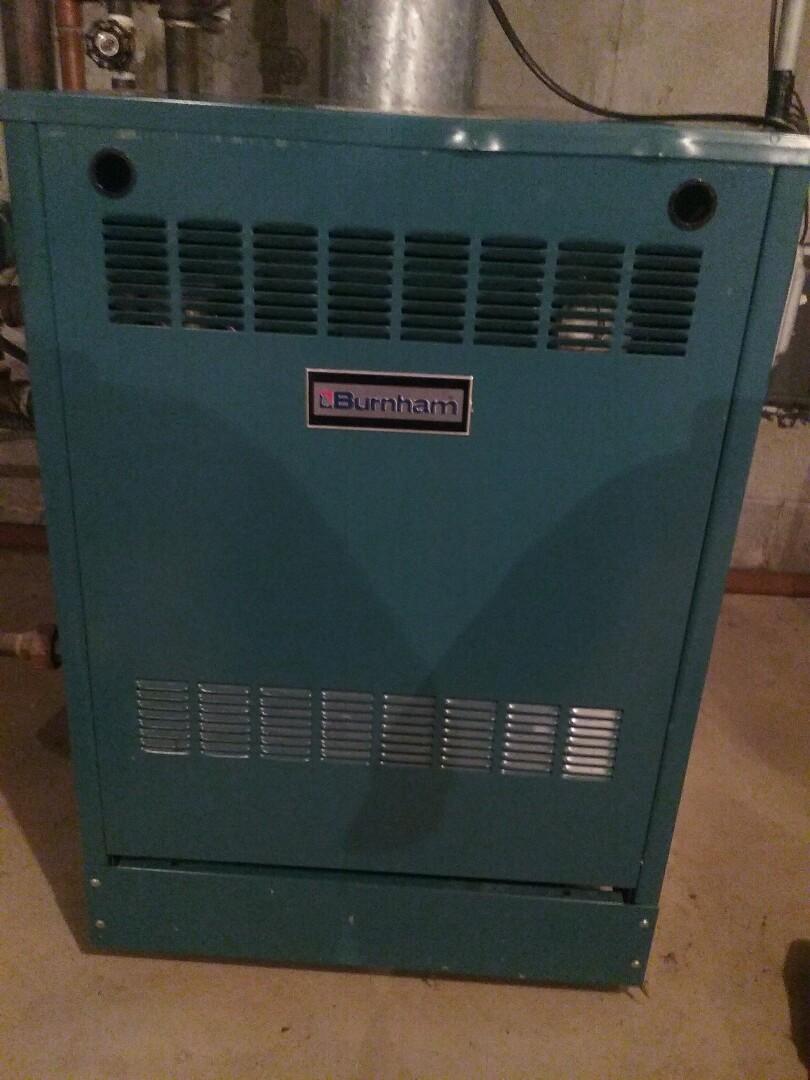 Shrewsbury, MA - Preventative maintenance Burnham gas boiler p205a-wnv