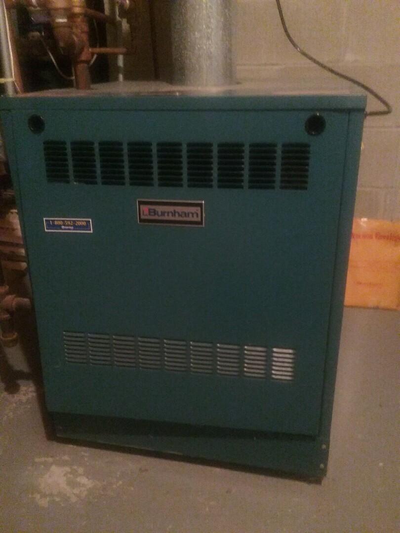 Marlborough, MA - Maintenance on a Burnham gas boiler