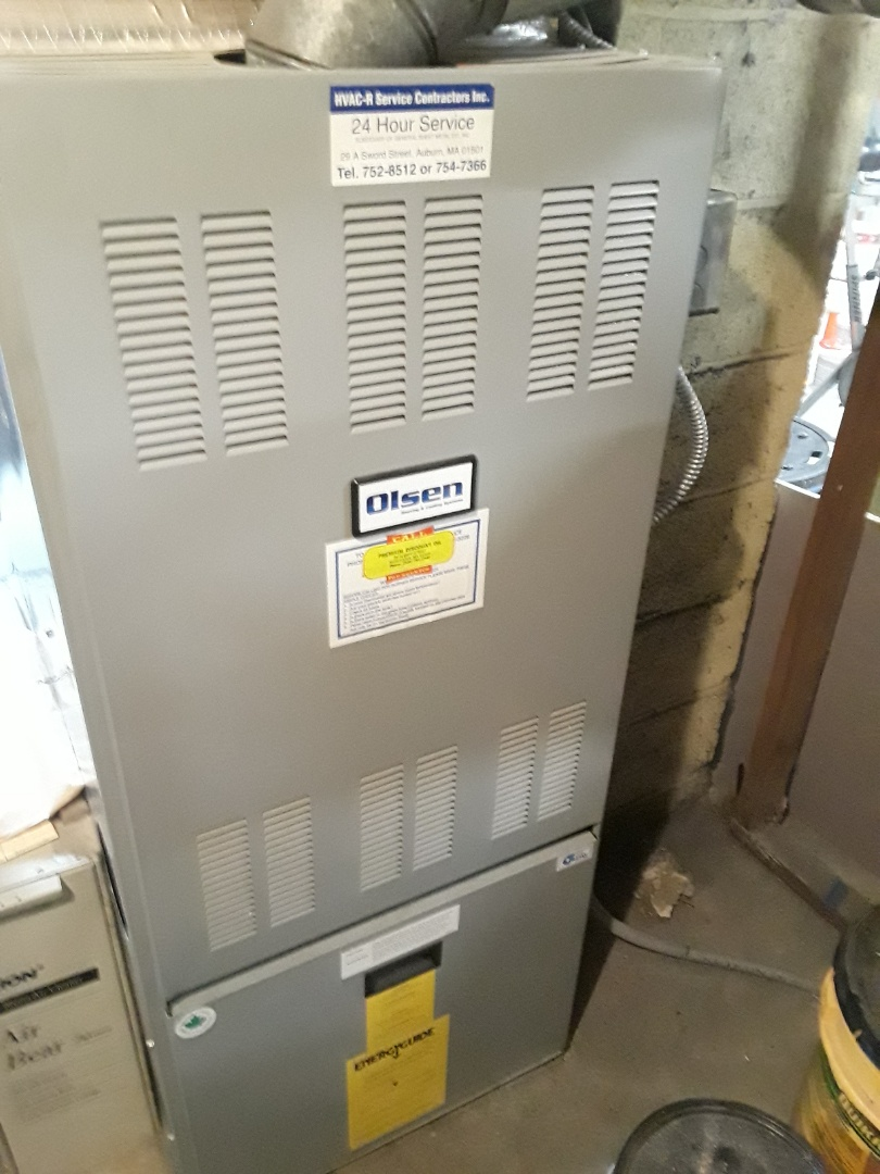 Auburn, MA - Clean and check Olsen oil furnace