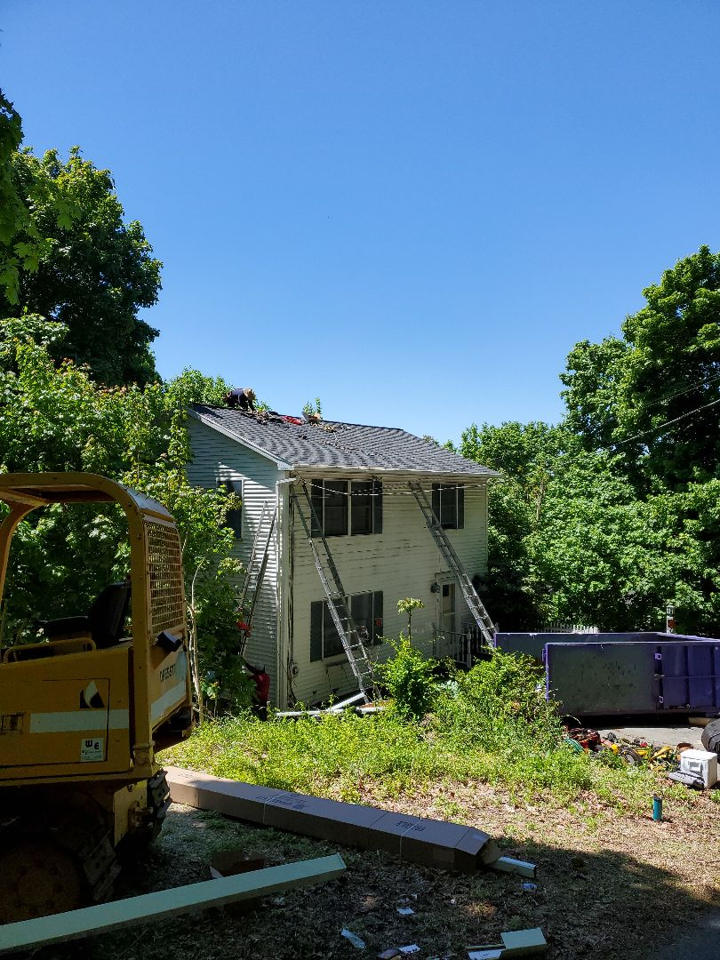 Haverhill, MA - Gutters and roof install HDZtimberline#charcoal