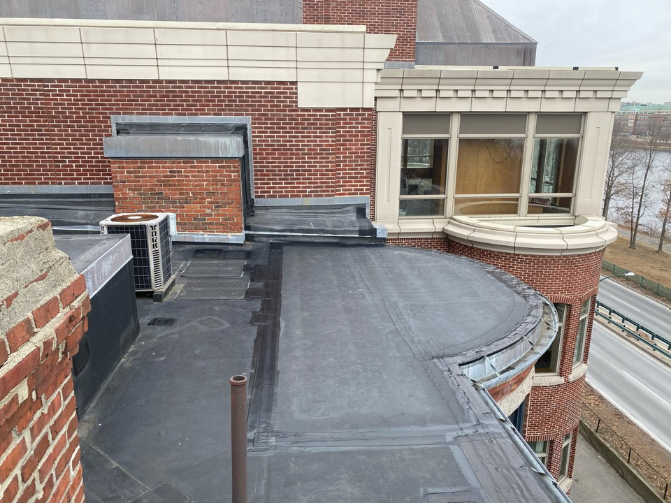 "Boston, MA - Installed a 10'x17'target patch in leak area on a EPDM fully adhered roof system and stripped in edges with 6"" elastoform"
