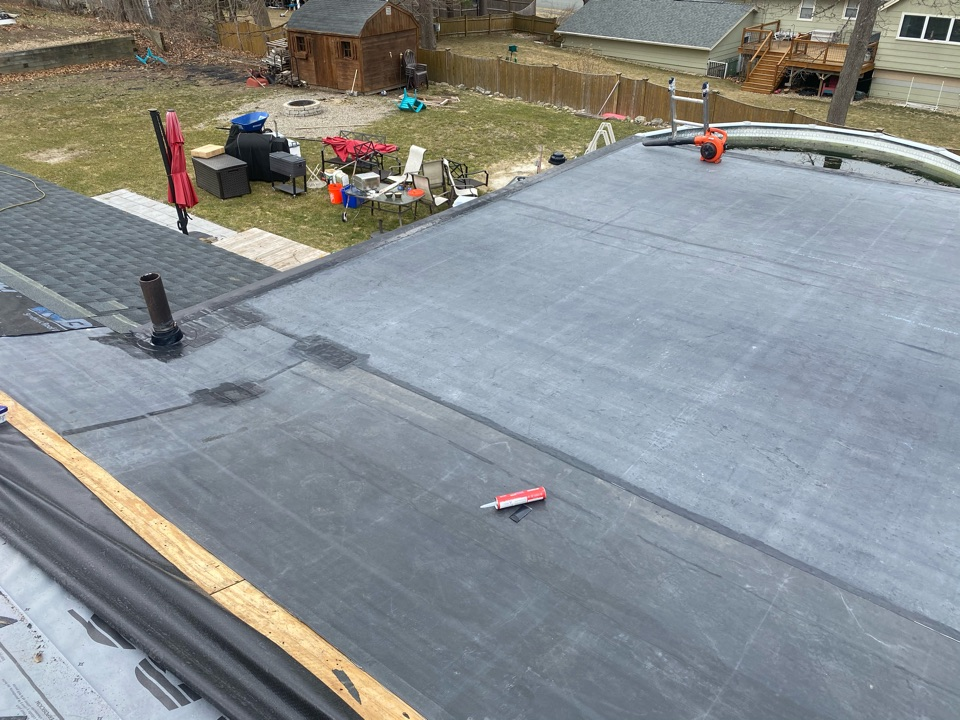 Peabody, MA - Installed a Carlisle EPDM fully adhered roofing system and installed new edge metal