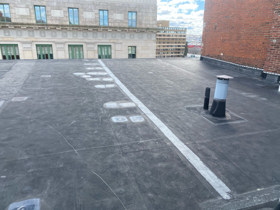Peabody, MA - Found multiple holes through out roof on an epdm fully adhered roofing system