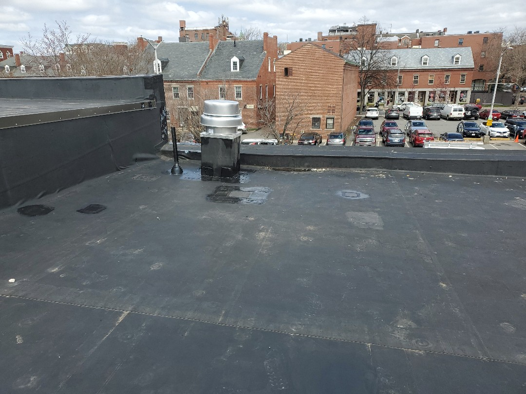 Salem, MA - EPDM  installed 2'x2' curb and 2in pipe