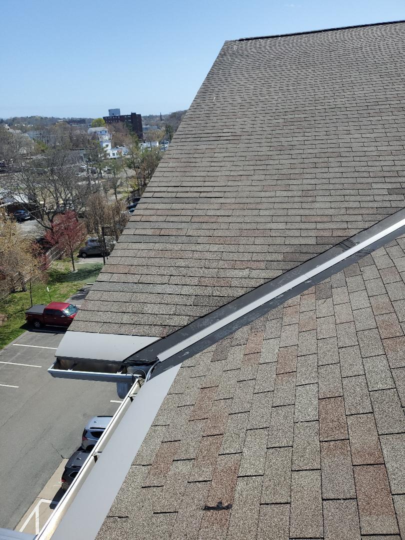Peabody, MA - weathered grey royal sovereign  replaced wind damaged shingles rake