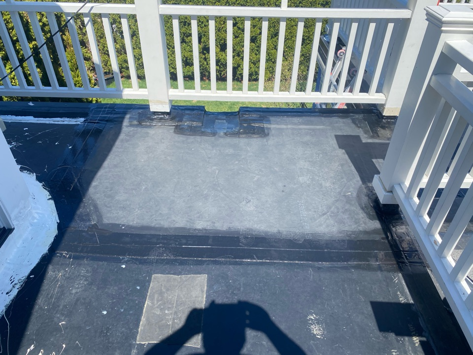 Marblehead, MA - Installed scupper and target patch in leak area on a epdm fully adhered roofing system
