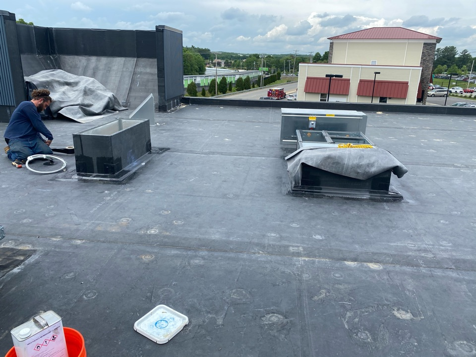 Franklin, MA - Installed two curbs on a epdm. Fully adhered roofing system