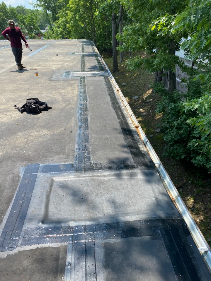 Saugus, MA - Doing scuppers on a Carlisle roof!!