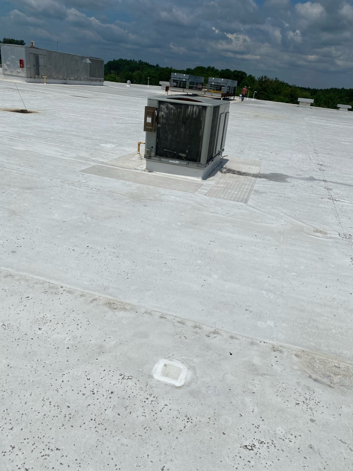 Carver, MA - Patched two holes in leak area on a TPO roofing system