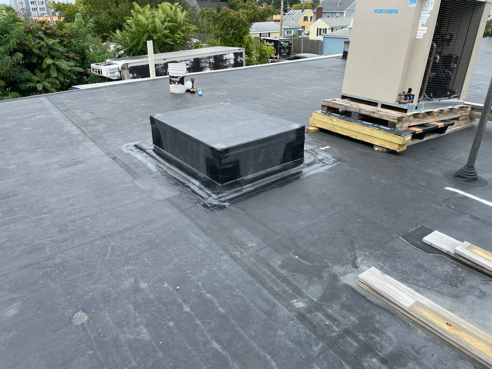 Salem, MA - Cleaned and installed curb on a epdm fully adhered roofing system
