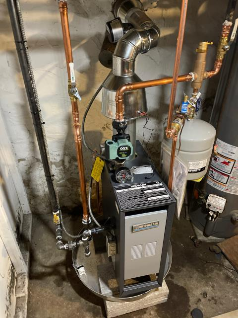 Philadelphia, PA - Install a new Weil McLain Series-3 CGa-3  gas Boiler (67 MBH) Boiler installation includes  - New Expansion Tank. - New Circulator Pump. - New Water Shutoff Valves. - New Spirovent Air Eliminator. - New Water Auto Feeder. - New Backflow Preventer. - New Low Water Cutoff. - New Directional Valve (if needed). - Remove and haul away old boiler.