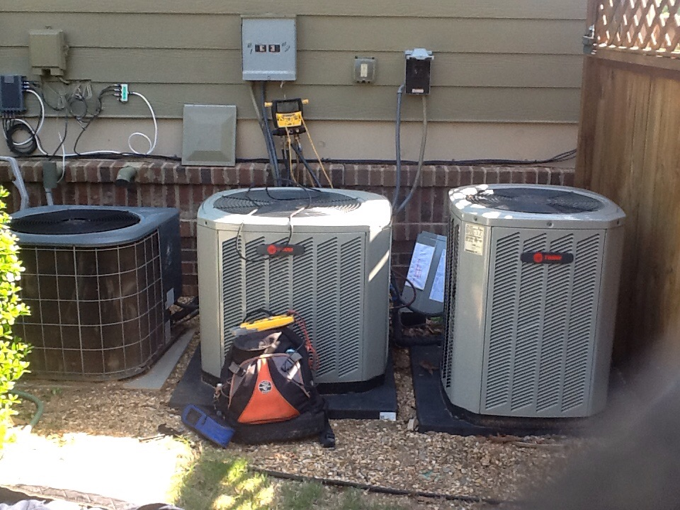 Holly Springs, GA - Air conditioning tune up on two TRANE and an old Amana unit