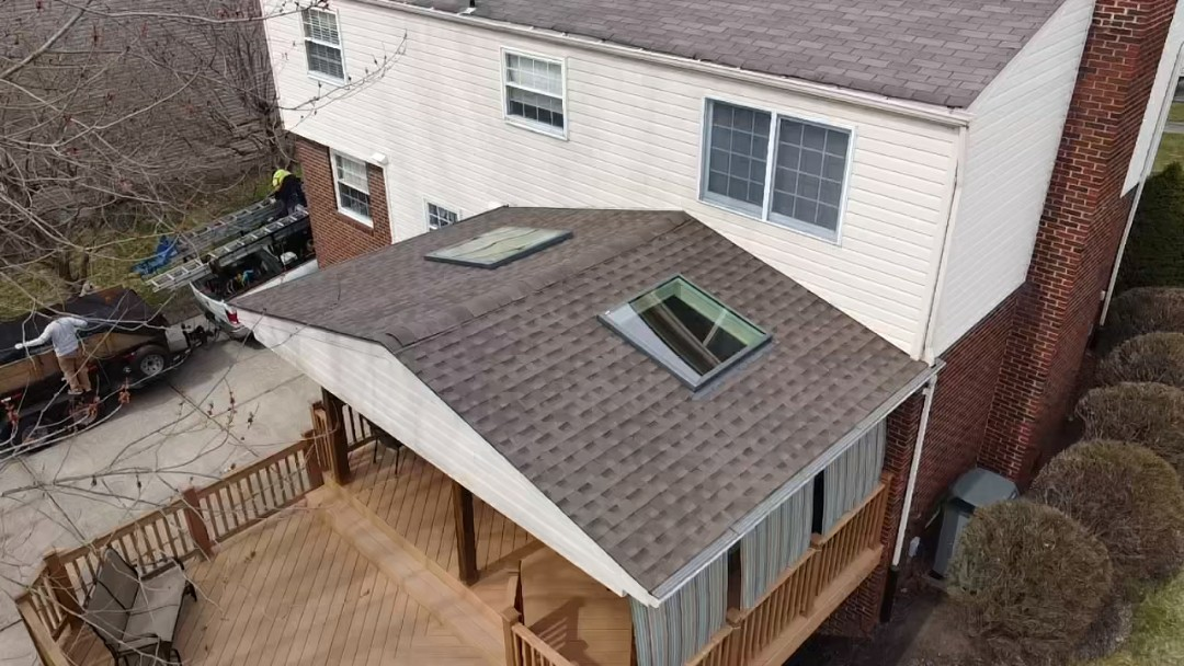 Coraopolis, PA - GAF Timberline HDZ in Barkwood and Velux skylights in Moon Twp. Pa by pittsburghs best roofing company, Meredith Home Improvements.