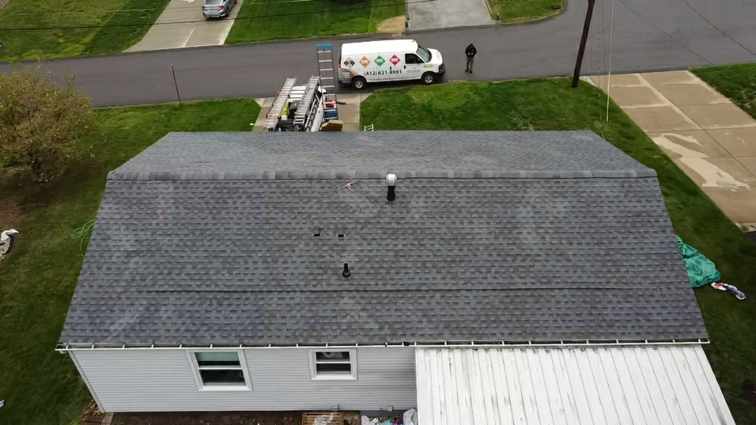 Oakdale, PA - GAF Timberline HDZ in Pewter Gray with Cobra Intake vent installed in Oakdale, PA. by Pittsburgh area's best roofing Company, Meredith Home Improvements.