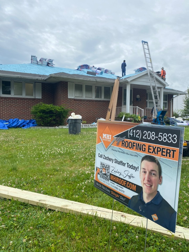Morgantown, WV - Beautiful day to install a new roof in Motown!!! As always, licensed and insured, professional, and timely!!! MHI Roofing!!!