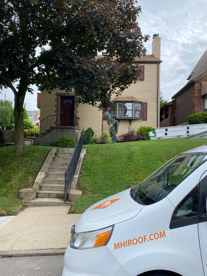 Carnegie, PA - Inspecting roof leaks on a home in Carnegie, Pa. possible roof replacement needed.
