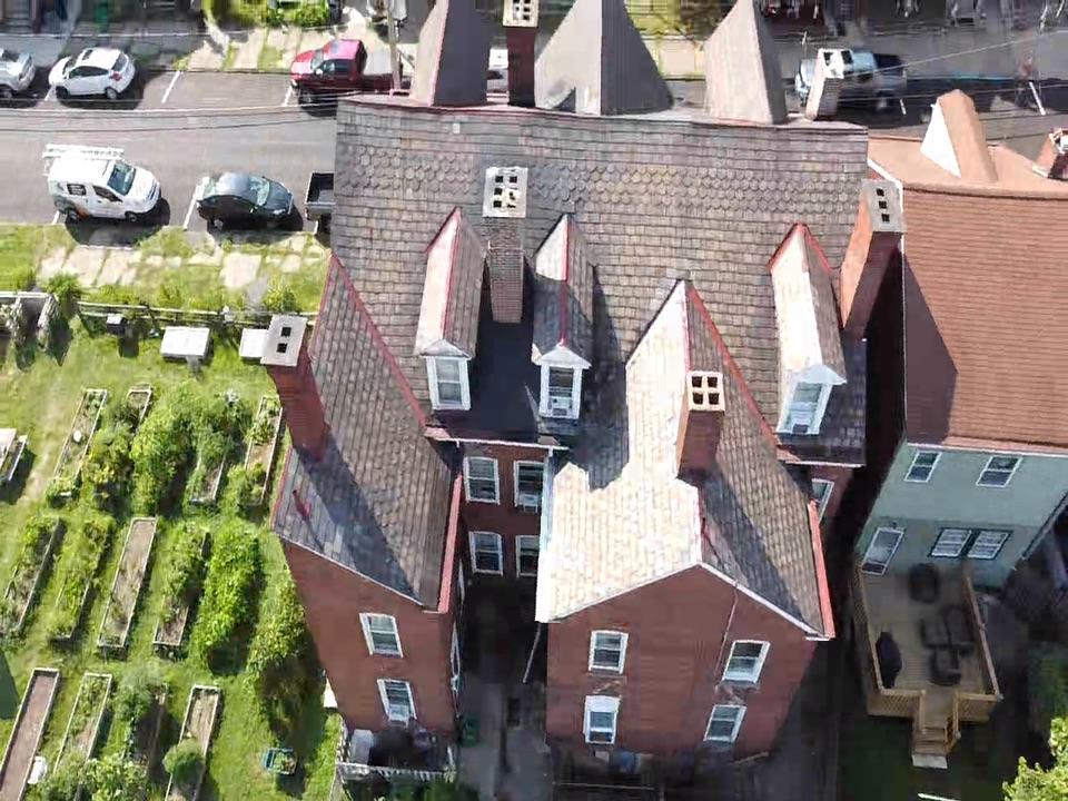 Pittsburgh, PA - Roof inspection in Pittsburgh on a slate roof. Roof repairs were done to no success you have to call a certified roofing contractor near me MHI Roofing
