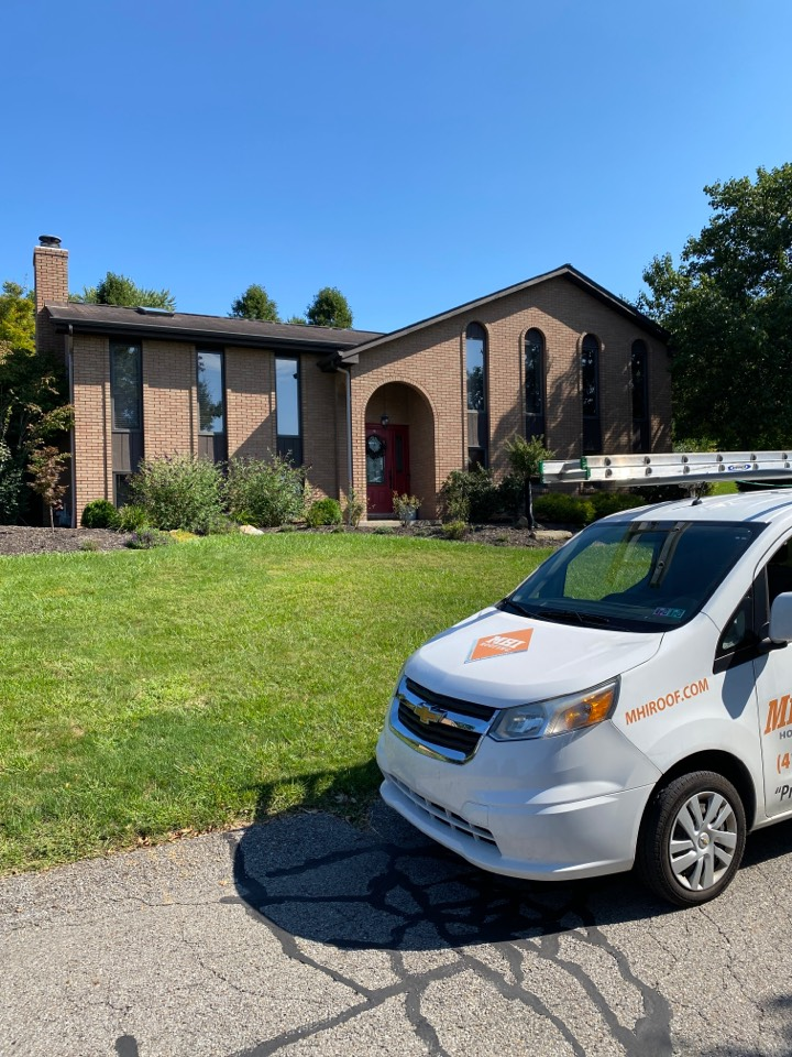Carnegie, PA - Getting some final pictures to prepare for the replacement of this roof. We are the areas top GAF Master Elite contractor.