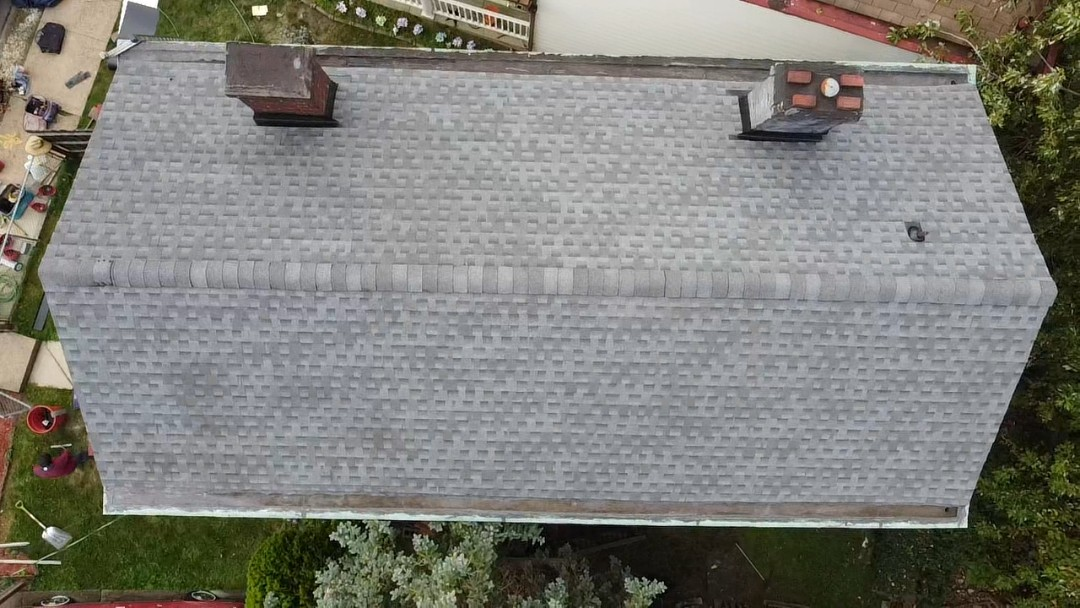 Pittsburgh, PA - New roof installed in Brentwood. New GAF HDZ pewter gray shingles