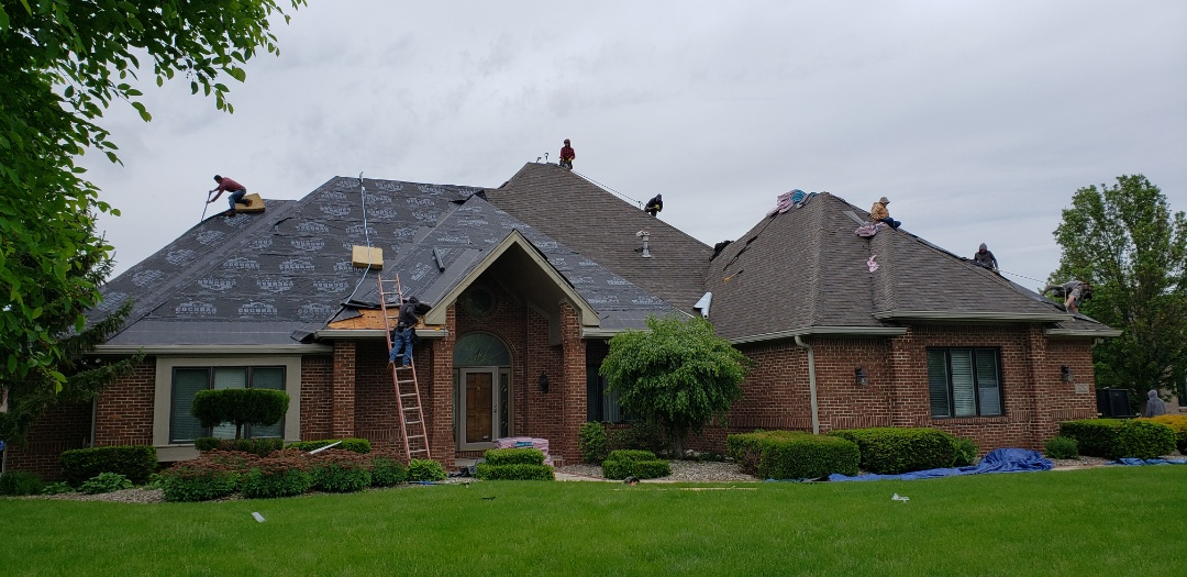 Kokomo, IN - Kingdom Constructions residential roofing crew has begun the roof replacement of this estate on the Kokomo Indiana golf course. We have arrived with 16 of our best roofers to complete this roof replacement in an astonishing One day for a total of 8000 square feet. We believed it was important to send enough of our Kingdom Crew to complete in a timely manner because we know the process including sound can disturb the local golf course. Who is on your roof? #KingdomCulture