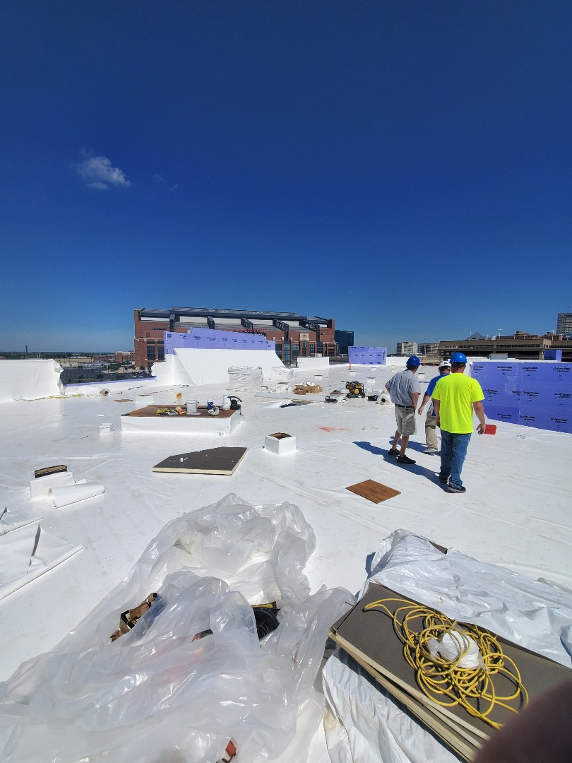 Working on the new Marriott in downtown Indy.  Laying down 60 mill Duro-Last on a fully tapered insulation system.  We will finish this one up in 3 days or so.