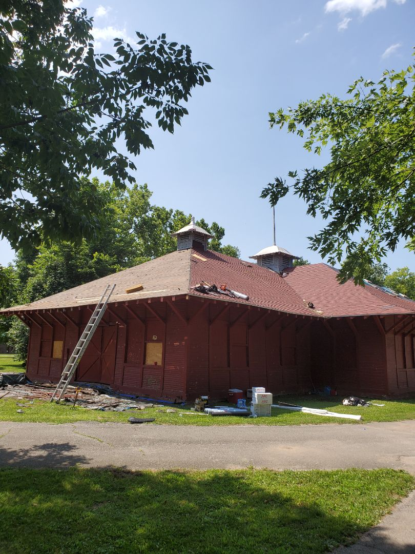 Marion, IN - At Matter Park in Marion, Indiana today doing a large shelter house roof.  Installing a Certainteed Landmark shingle over a native wood deck.