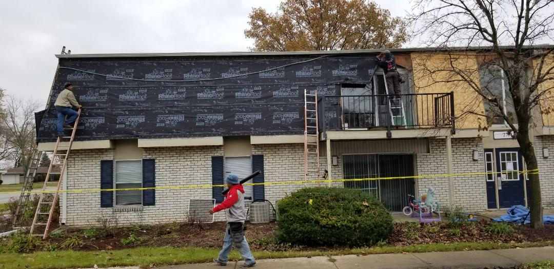 Mansard face install at Fort Wayne apartment complex is in progress. This is the 2nd complex we have inspected and the current roof has been failing due to improper install. Choose the proper roofing contractor, or you might pay twice. These shingles must be nailed on the nail line with 6 nail per shingle and hand sealed with a roof tar per the manufacturers specifications. Don't pay twice, pay the right contractor to do it right!