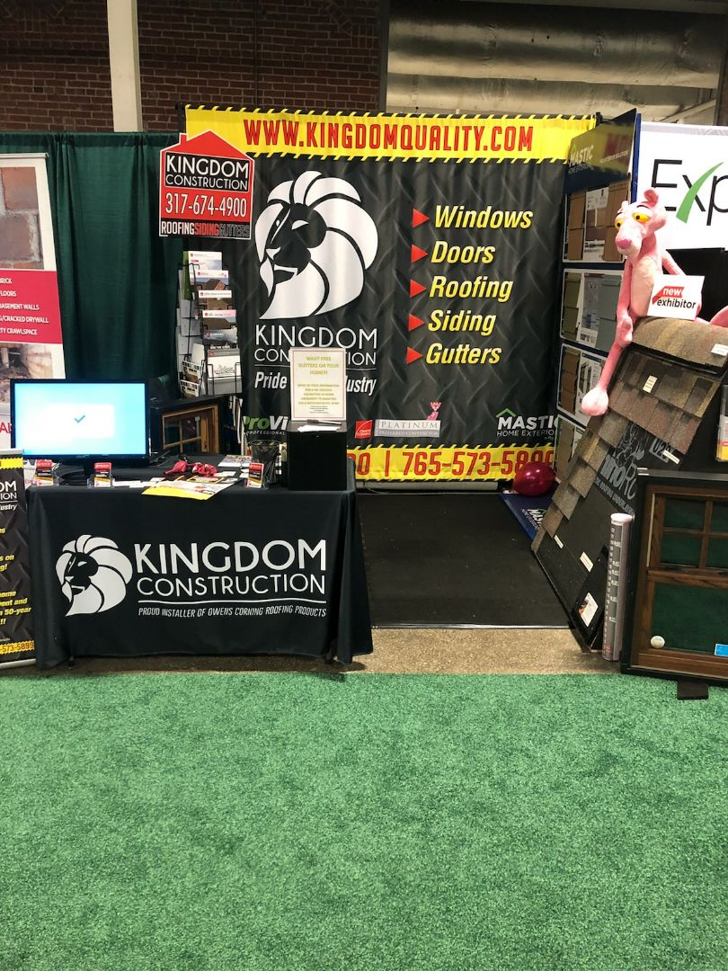 "Come visit our booth at the Indiana State Fair grounds over the next 10 days! The Indianapolis Home and Garden show is a fantastic opportunity to learn about our products and services. Kingdom Construction is offering a fantastic promotion right now: ""Purchase a home full of windows, siding or gutters and receive FREE aluminum seamless gutters or premium aluminum gutter guards""! Let your friends know so they don't miss the opportunity!"