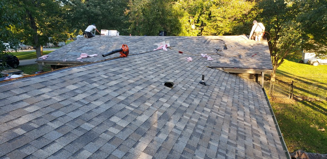 Jonesboro, IN - The Kingdom Construction roofing crew is wrapping up another Owen's Corning Duration roof install. The surenail technology ensures the crew hits the nail line perfectly on the shingle, reduces blow troughs and pull throughs. This shingle is old faithful for us. The Duration shingle has super attractive colors and with the full OC system we know the roof is engineered to perform together and provides 1 manufacturer on the roof. Most roofers use economy products to save money, not kingdom.