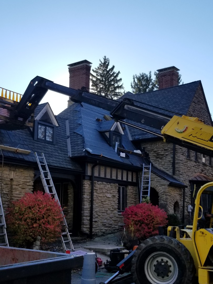 This project was done by Kingdom in 2013. This roof is as complex as they get. The roof is 12,500 square feet at 16/12 pitch with 65 different roof facets. We framed and installed 23 roof dormers that had flat roofs and converted them to gable-style roof systems. Unfortunately the house was damaged by hail this year and we were able to  work with the insurance company to replace the roof! We are installing an Owens-Corning Berkshire shingle with open metal w-pan valleys. We like the tough ones!
