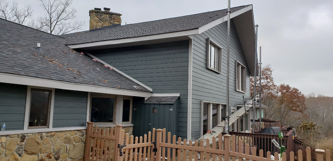 Marion, IN - The Kingdom Construction James Hardie siding installation crew is making great progress on this lakefront home. The old cedar siding was riddled by wood peckers, constant maintenance, expensive painting year after year and bad warpaling of the wood. The new James Hardie siding solves all these problems and makes the home maintenance free as well as getting a discount on home owners insurance for the fire rating. Stay tuned for updates! #KingdomCulture