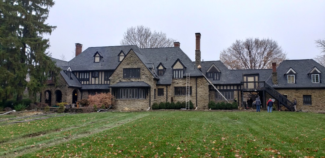Muncie, IN - The Kingdom Construction  crew is finishing up this massive Owens Corning Berkshire shingle roof install. The Ball Family Horse farm in Muncie Indiana, is a Historic Home. We are honored to be chosen by the General Contractor that performed over $500 million in roofing at Harvard. The original roof was an East Coast Slate, but the owner felt the new shingle that we installed was the perfect fit, as it resembles slate, but it comes with tall exposure and triple laminate.  #KingdomCulture