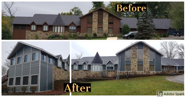 , IN - This James Hardie install was a complete renovation outside. The homeowner had cedar siding and fought woodpeckers, wood boring bees, rodents eating away at the siding from the roof and accessing the attic. We install industry-leading products with industry-leading warranties including Owens Corning lifetime roof systems, Pro via doors and windows, Mastic and Hardie siding, seamless gutters, and multiple commercial roofing lines. Just take a look at these amazing before and after pictures of this James Hardie Install!