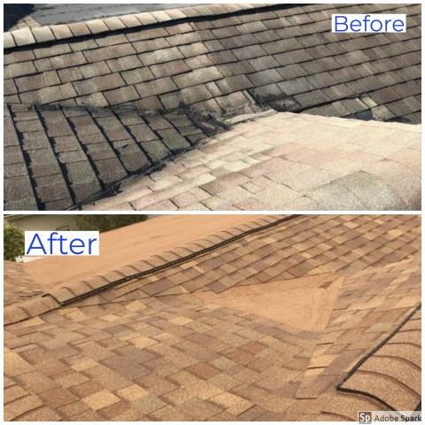 Hartford City, IN - Finished this roof in Hartford City with Owens Corning Shingles in the color Aged Cedar! These before and after pictures show what an amazing difference there is!  We are your local Platinum Preferred Contractor and specialize in all of your residential and commercial Exterior needs. We install Owens Corning, Malarkey, Dura Last, Master Exteriors, Hardie siding, 6 inch seamless gutters, and ProVia doors and windows. Call Kingdom Construction today!