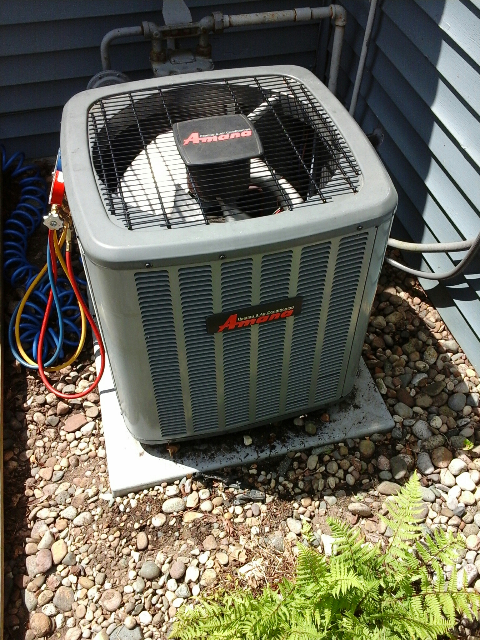 Union City, MI - Performed a precision tune-up on a Amana ASX air-conditioning unit with R 410A refrigerant.