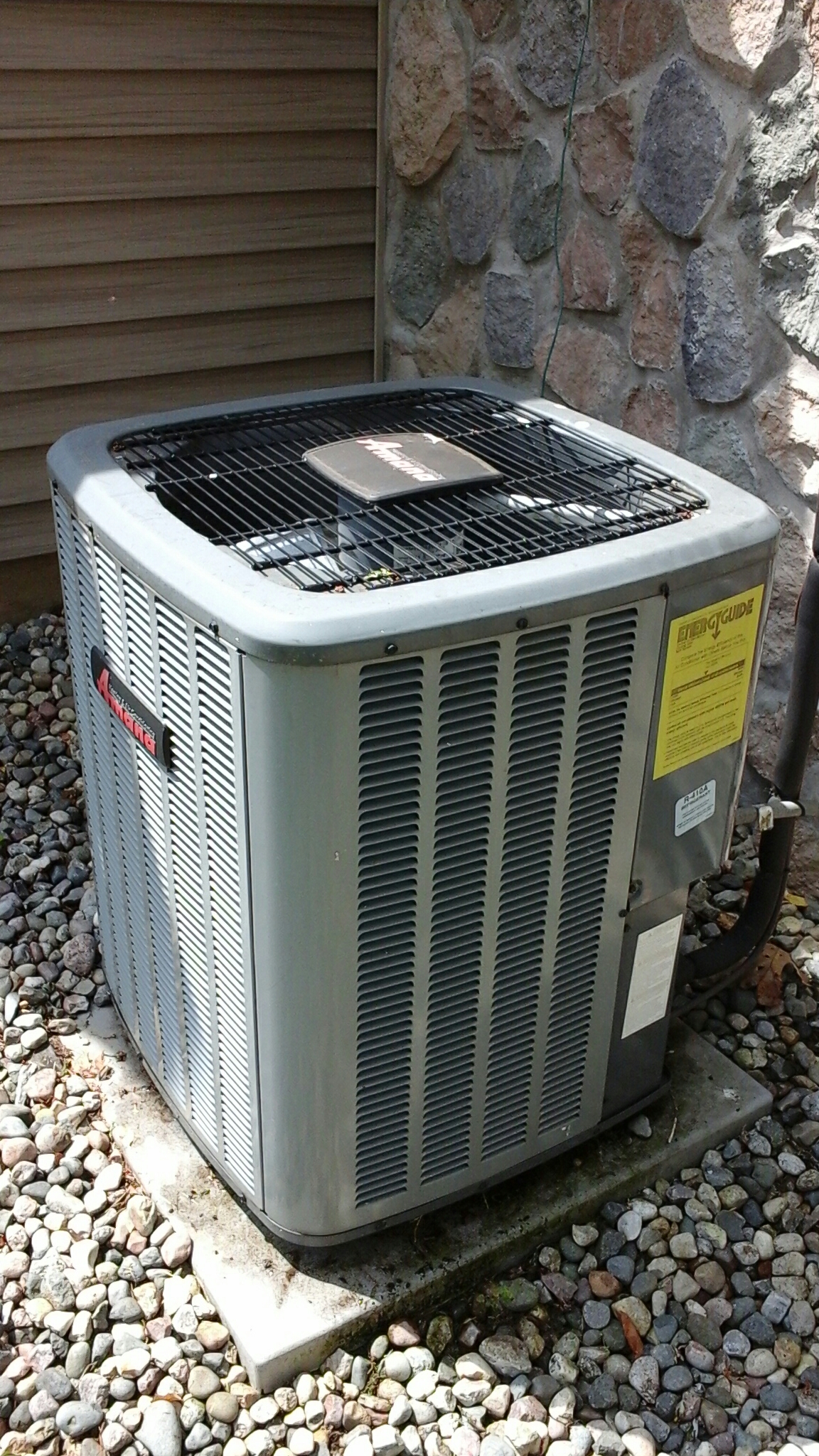 East Leroy, MI - Performed a precision tune-up on a Amana ASX air-conditioning unit with R410A refrigerant and replaced the filter.