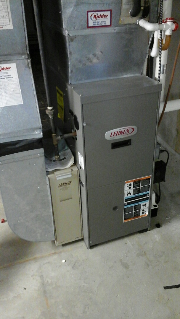 Bellevue, MI - Performed a precision tune-up on a Lennox G61MPV 90% furnace with a 2400 model media air filter.