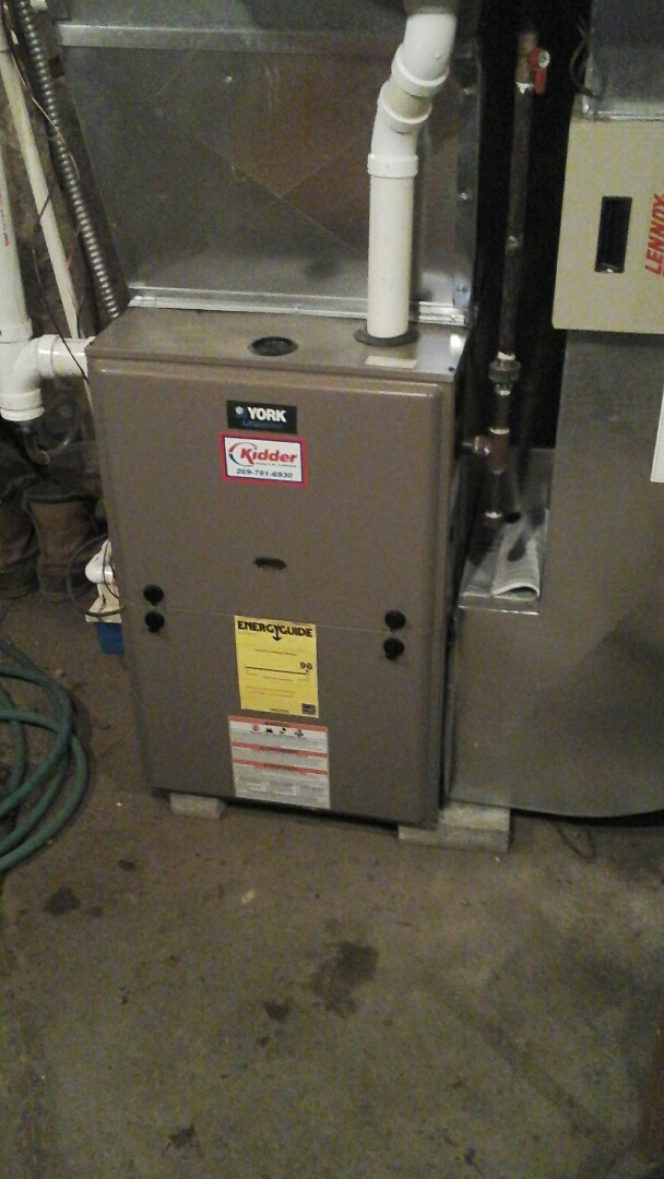 Albion, MI - Performed a precision tune-up on a 90% York furnace with a PMAC-12C Lennox media air filter.