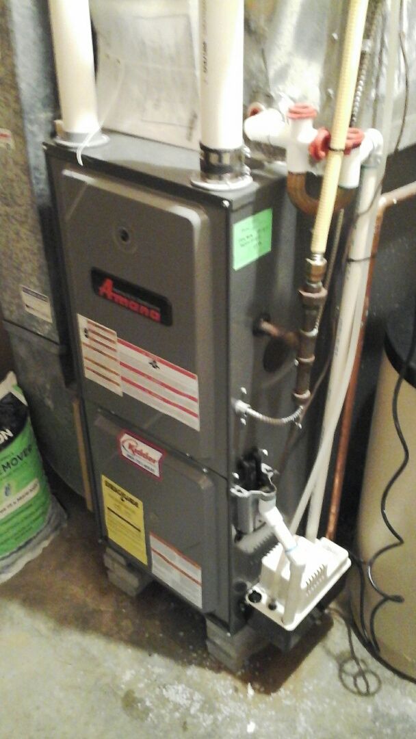 Olivet, MI - Performed a precision tune-up on a Amana AMH 90% furnace with a 14 �25�1 fiberglass air filter.